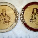Tecnica: pirografia eseguita a mano e doratura foglia argento e pigmenti naturali.